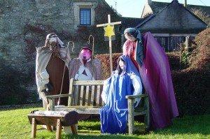 Life size nativity set on a park bench
