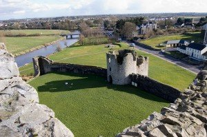 View from the top of the ramparts at Trim Castle County Meath