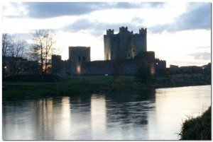 Trim Castle by the river Boyne at twilight