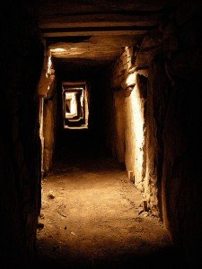 Light floods the passageway at Newgrange