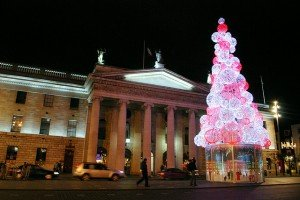 Red and white Christmas tree outside the GPO in Dublin