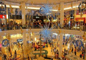 Shopping mall in Dublin decorated for Christmas