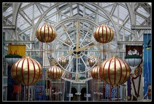 Golden baubles at the St. Stephen's Green Shopping Centre in Dublin at Christmas
