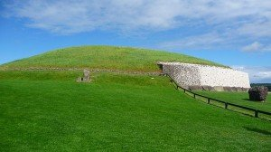 Grass growing on the burial mound at Newgrange