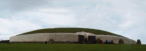 The stone wall surrounding the burial mound and chamber at Newgrange