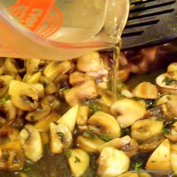Adding wine to sauteed mushrooms