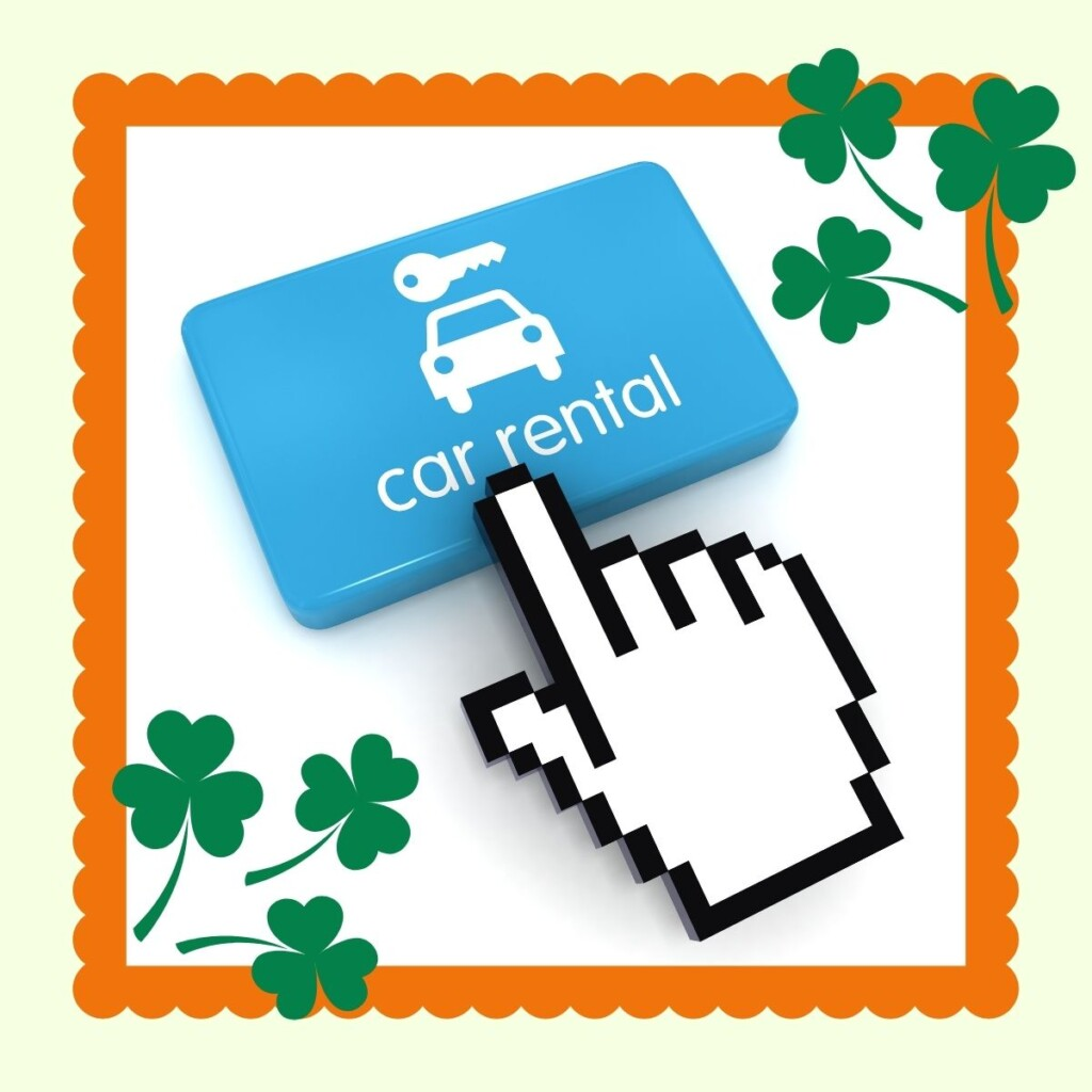 Car rental button with frame and shamrocks