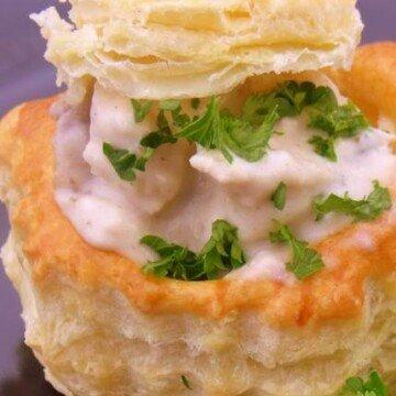 A mushroom and chicken creamy vol-au-vent filling