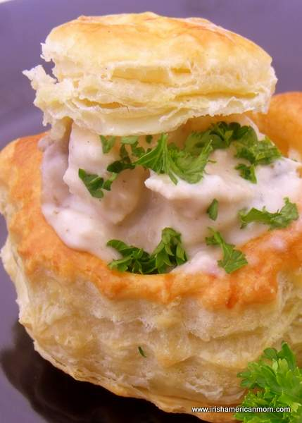 A mushroom and chicken creamy vol-au-vent filling