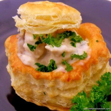 Pastry shell with creamy savory filling