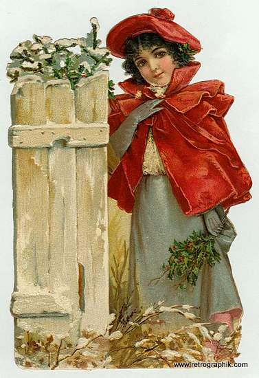 Christmas Vintage Image - Girl in Red Jacket