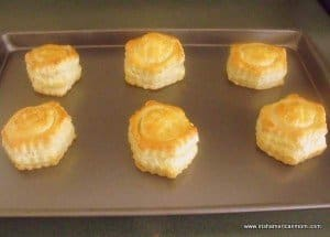 Golden tops on cooked vol-au-vent shells