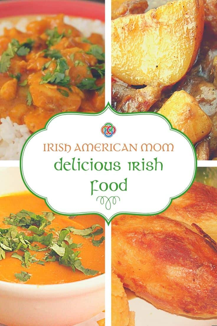 Irish food graphic featuring chicken curry, beef stew, carrot and coriander soup and roast potatoes