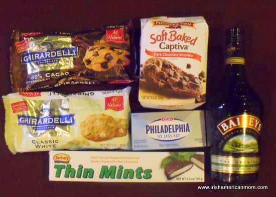 Ingredients for Baileys Mint Chocolate Cookie Truffles