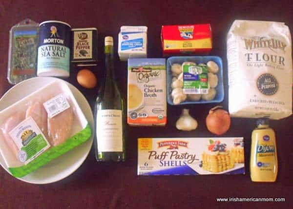 Ingredients for chicken and mushroom vol-au-vents