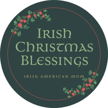 Circular graphic with text and holly