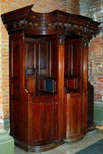 Ornate wooden Italian open confessional