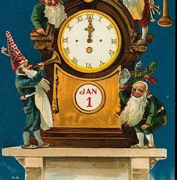Elves serenading the New Year by a Vintage Clock