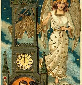 A town hall clock with an angel to ring in the New Year