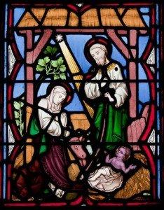 Stain glass nativity scene