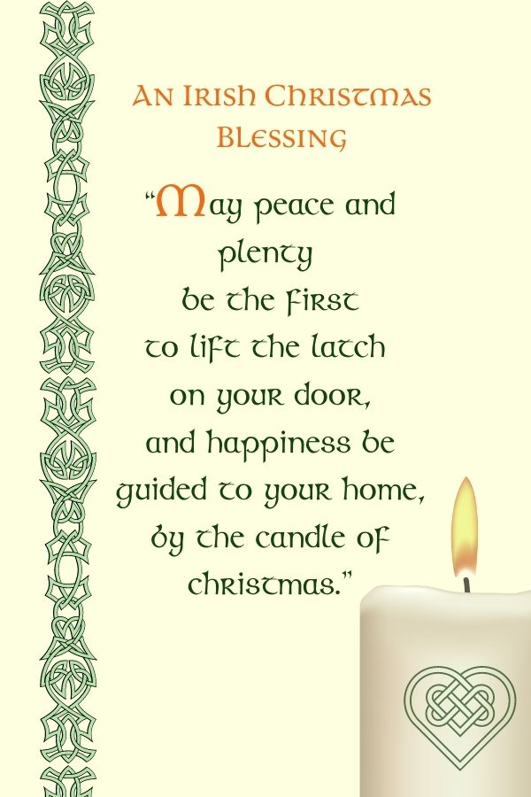 Celtic knot border and text beside a candle with a flame and Celtic design