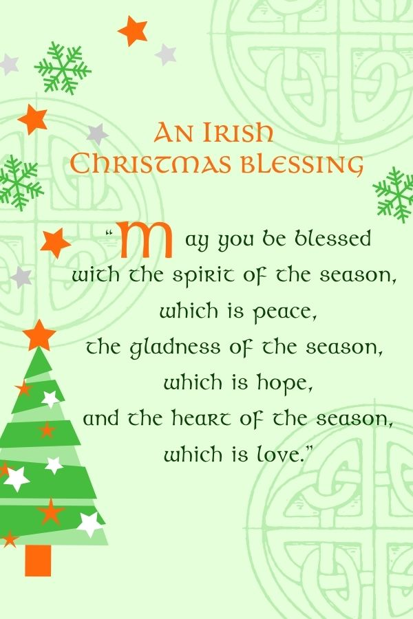 Celtic script text on a green graphic with Celtic symbols, stars and a Christmas tree