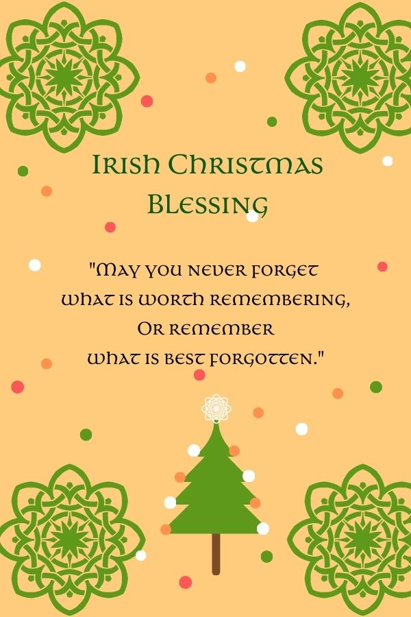 Light orange background with a Christmas Tree, green Celtic snowflakes and text