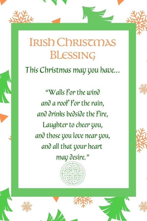 Green Christmas tree and orange snowflake border around green and orange text