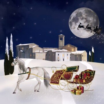 A horse drawn sleigh in snow outside a town with a santa sleigh crossing a full moon in the sky