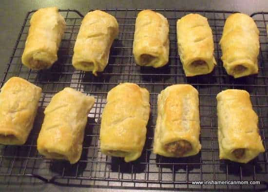 Sausage rolls cooling on wire rack