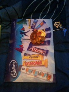 The outside of a Cadbury selection box