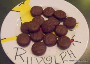 thin mint candies on a Rudolph plate