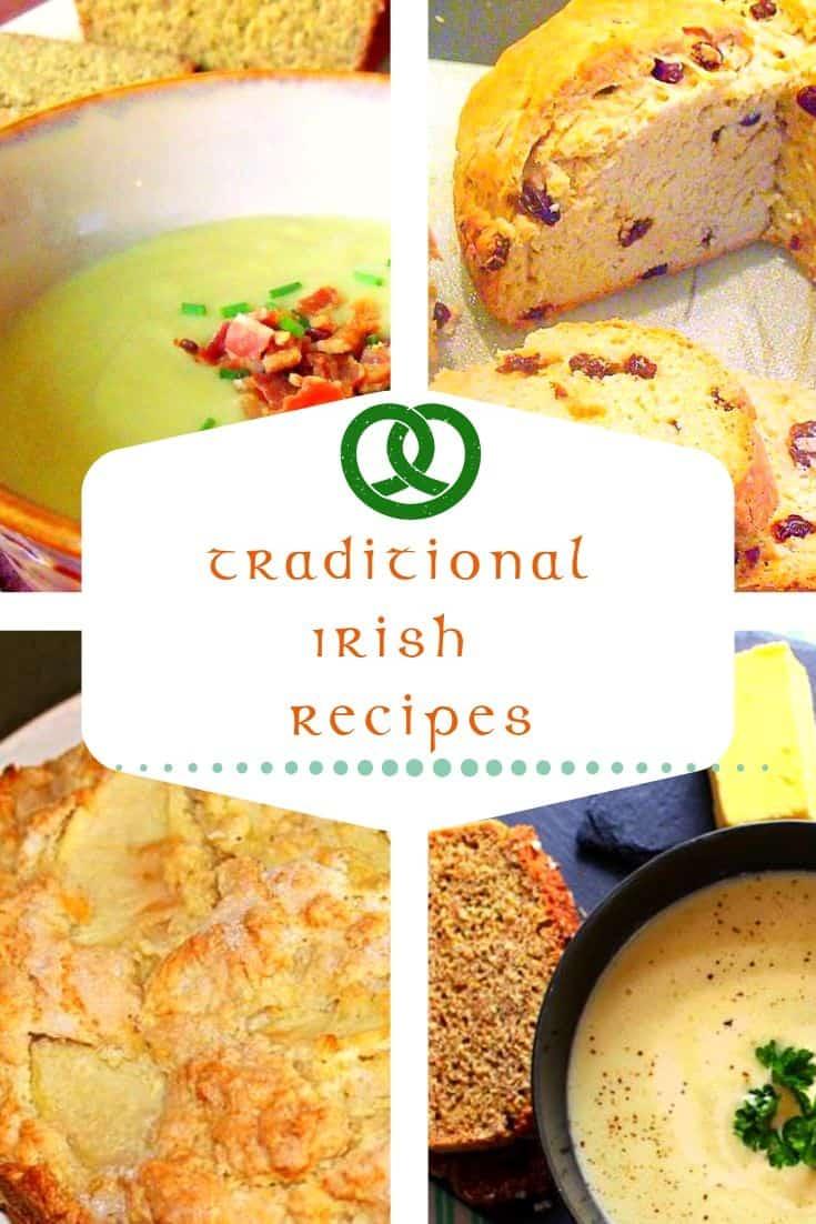 Graphic showing potato and leek soup, Irish raisin soda bread, kerry apple cake and Irish potato soup