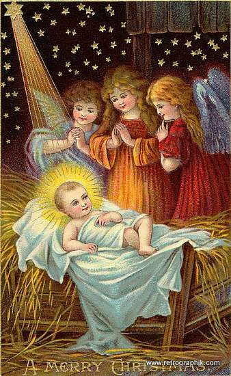 Jesus with halo on a bed of straw with three angels