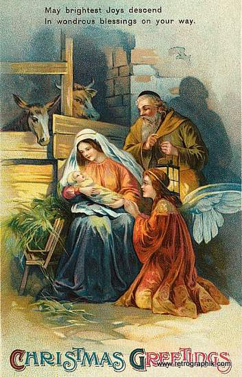 Christmas nativity scene with an angel