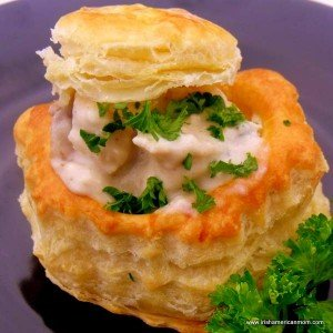 Stuffed puffed pastry shell appetizer