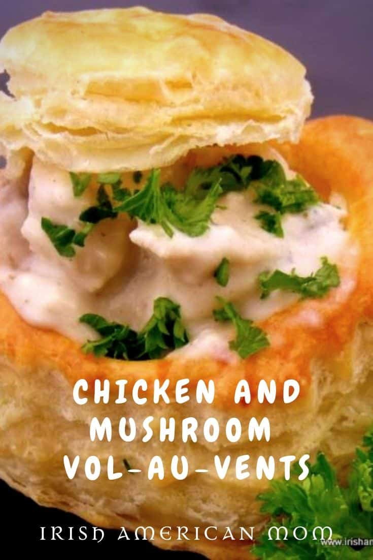 Pinterest friendly image for chicken and mushroom vol au vent recipe