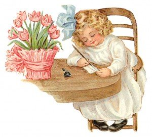 Child writing a note on a desk with a display of tulips