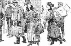 Victorian train passengers vintage sketch