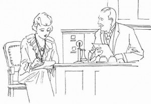 Vintage sketch of a secretary taking shorthand notes from a boss
