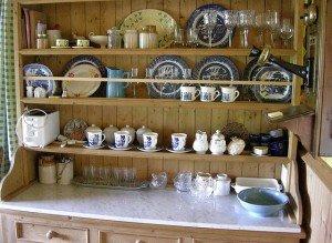 An Irish kitchen dresser with willow pattern delph