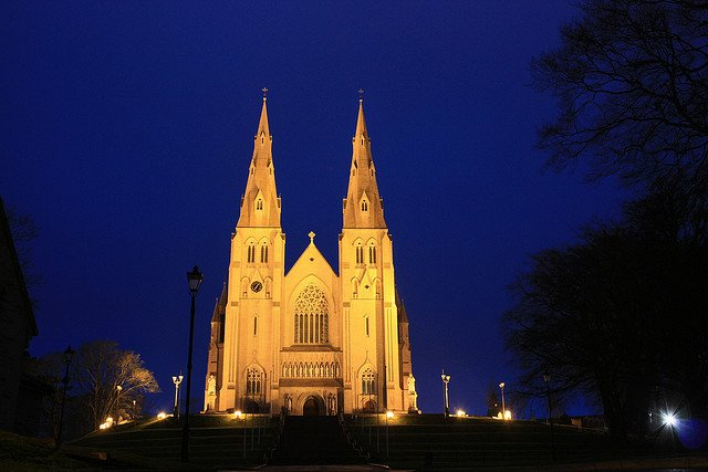 Lights shine on Armagh Cathedral at night