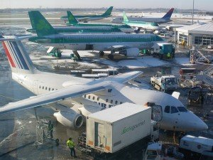 Aer Lingus planes parked at Dublin Airport