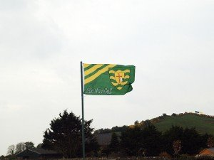 County Donegal or Dun na nGall flag flying on a pole