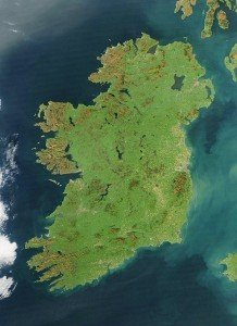 Cloud free satellite view of Ireland