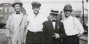 Four Irish immigrants to the United States in a vintage photo