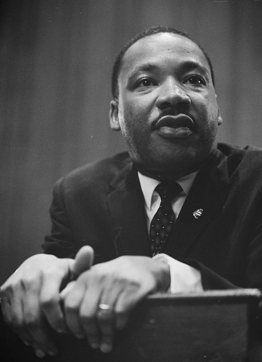 Black and white photo of Dr. Martin Luther King Jr