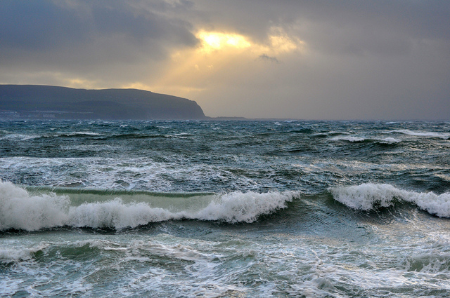 High waves on the Atlantic Ocean in County Clare
