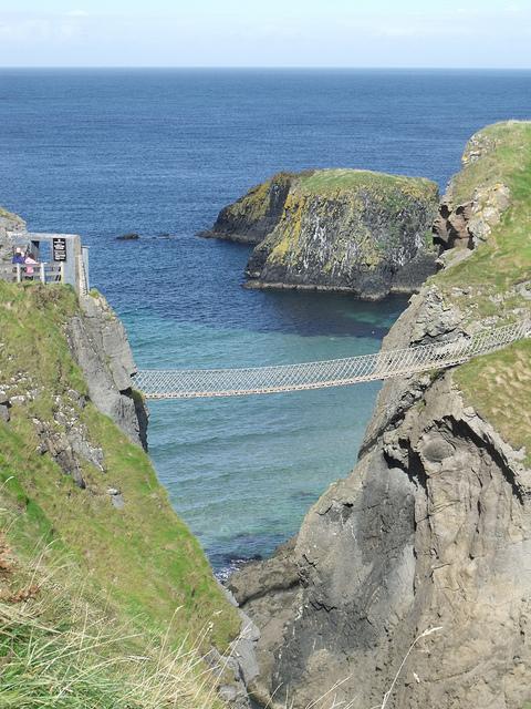 The rope bridge between sea cliffs