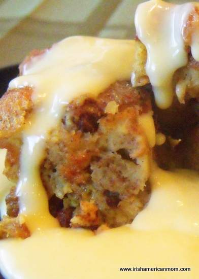 Bread pudding with hot custard